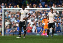 LIVERPOOL, ENGLAND - APRIL 21: Paul Pogba of Manchester United looks dejected during the Premier League match between Everton FC and Manchester United at Goodison Park on April 21, 2019 in Liverpool, United Kingdom. (Photo by Alex Livesey/Getty Images)