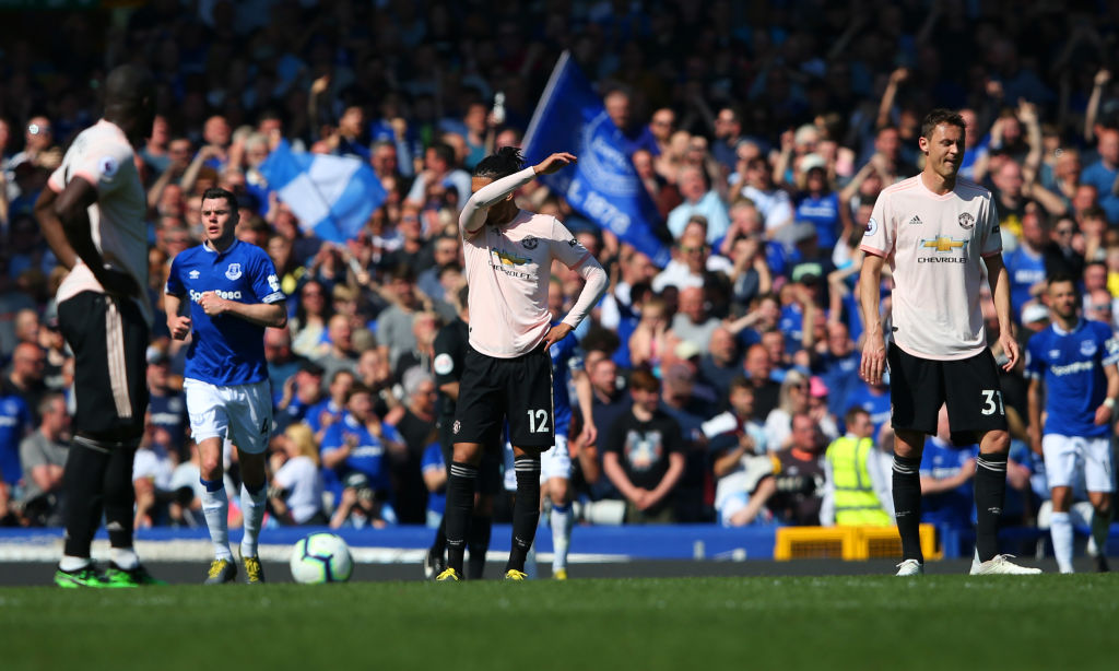 LIVERPOOL, ENGLAND - APRIL 21: Chris Smalling and Nemanja Matic of Manchester United look dejected during the Premier League match between Everton FC and Manchester United at Goodison Park on April 21, 2019 in Liverpool, United Kingdom. (Photo by Alex Livesey/Getty Images)