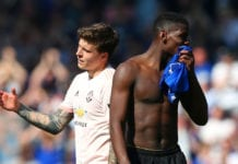 LIVERPOOL, ENGLAND - APRIL 21: Paul Pogba and Victor Lindelof of Manchester United look dejected following the Premier League match between Everton FC and Manchester United at Goodison Park on April 21, 2019 in Liverpool, United Kingdom. (Photo by Alex Livesey/Getty Images)
