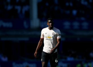 LIVERPOOL, ENGLAND - APRIL 21: Paul Pogba of Manchester United looks on during the Premier League match between Everton FC and Manchester United at Goodison Park on April 21, 2019 in Liverpool, United Kingdom. (Photo by Alex Livesey/Getty Images)