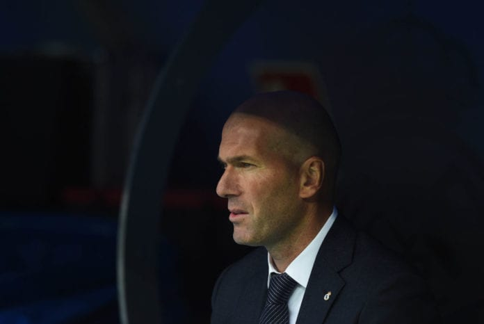 MADRID, SPAIN - APRIL 21: Zinedine Zidane, manager of Real Madrid looks on ahead of the La Liga match between Real Madrid CF and Athletic Club at Estadio Santiago Bernabeu on April 21, 2019 in Madrid, Spain. (Photo by Denis Doyle/Getty Images)