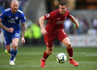 CARDIFF, WALES - APRIL 21: Liverpool player James Milner in action during the Premier League match between Cardiff City and Liverpool FC at Cardiff City Stadium on April 21, 2019 in Cardiff, United Kingdom. (Photo by Stu Forster/Getty Images)