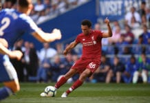 CARDIFF, WALES - APRIL 21: Liverpool player Trent Alexander-Arnold takes a free kick during the Premier League match between Cardiff City and Liverpool FC at Cardiff City Stadium on April 21, 2019 in Cardiff, United Kingdom. (Photo by Stu Forster/Getty Images)