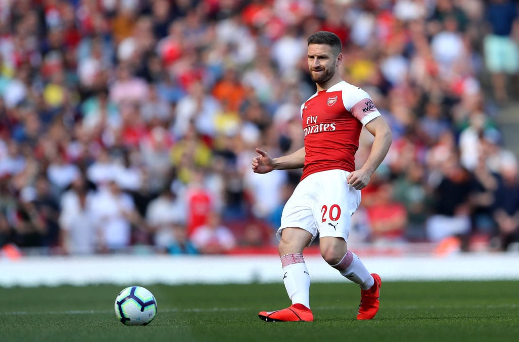 LONDON, ENGLAND - APRIL 21: Shkodran Mustafi of Arsenal in action during the Premier League match between Arsenal FC and Crystal Palace at Emirates Stadium on April 21, 2019 in London, United Kingdom. (Photo by Warren Little/Getty Images)