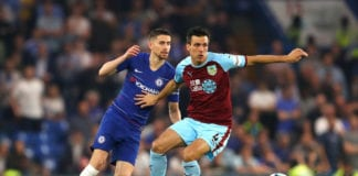 LONDON, ENGLAND - APRIL 22: Jack Cork and Jorginho of Chelsea battle for possesion during the Premier League match between Chelsea FC and Burnley FC at Stamford Bridge on April 22, 2019 in London, United Kingdom. (Photo by Warren Little/Getty Images)