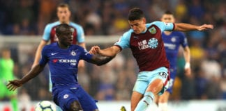 LONDON, ENGLAND - APRIL 22: Ngolo Kante of Chelsea and Ashley Westwood of Burnley battle for possession during the Premier League match between Chelsea FC and Burnley FC at Stamford Bridge on April 22, 2019 in London, United Kingdom. (Photo by Warren Little/Getty Images)