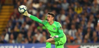 LONDON, ENGLAND - APRIL 22: Kepa Arrizabalaga of Chelsea throws the ball during the Premier League match between Chelsea FC and Burnley FC at Stamford Bridge on April 22, 2019 in London, United Kingdom. (Photo by Warren Little/Getty Images)