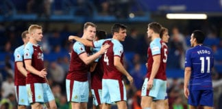 LONDON, ENGLAND - APRIL 22: Ashley Barnes and Burnley team mates shake hands during the Premier League match between Chelsea FC and Burnley FC at Stamford Bridge on April 22, 2019 in London, United Kingdom. (Photo by Clive Rose/Getty Images)
