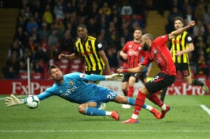 WATFORD, ENGLAND - APRIL 23: Ben Foster of Watford saves from Nathan Redmond of Southampton during the Premier League match between Watford FC and Southampton FC at Vicarage Road on April 23, 2019 in Watford, United Kingdom. (Photo by Marc Atkins/Getty Images)