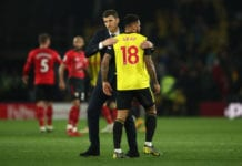 WATFORD, ENGLAND - APRIL 23: Javi Gracia, Manager of Watford greets Andre Gray of Watford after the Premier League match between Watford FC and Southampton FC at Vicarage Road on April 23, 2019 in Watford, United Kingdom. (Photo by Marc Atkins/Getty Images)