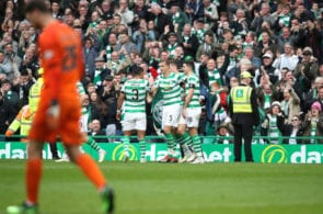 GLASGOW, SCOTLAND - APRIL 27: Jozo Simunovic of Celtic celebrates with teammates after scoring his team's first goal during the Ladbrokes Scottish Premiership match between Celtic and Kilmarnock at Celtic Park on April 27, 2019 in Glasgow, Scotland. (Photo by Ian MacNicol/Getty Images)