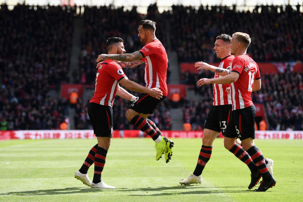 SOUTHAMPTON, ENGLAND - APRIL 27: Shane Long of Southampton celebrates with teammates after scoring his team's first goal during the Premier League match between Southampton FC and AFC Bournemouth at St Mary's Stadium on April 27, 2019 in Southampton, United Kingdom. (Photo by Stu Forster/Getty Images)