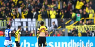 DORTMUND, GERMANY - APRIL 27: Julian Weigl of Borussia Dortmund reacts after the Bundesliga match between Borussia Dortmund and FC Schalke 04 at Signal Iduna Park on April 27, 2019 in Dortmund, Germany. (Photo by Martin Rose/Bongarts/Getty Images)