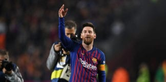 BARCELONA, SPAIN - APRIL 27: Lionel Messi of FC Barcelona celebrates as his team win the La Liga following their victory in the La Liga match between FC Barcelona and Levante UD at Camp Nou on April 27, 2019 in Barcelona, Spain. (Photo by David Ramos/Getty Images)