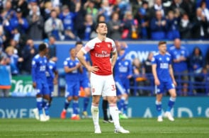 LEICESTER, ENGLAND - APRIL 28: Granit Xhaka of Arsenal reacts during the Premier League match between Leicester City and Arsenal FC at The King Power Stadium on April 28, 2019 in Leicester, United Kingdom. (Photo by Julian Finney/Getty Images)