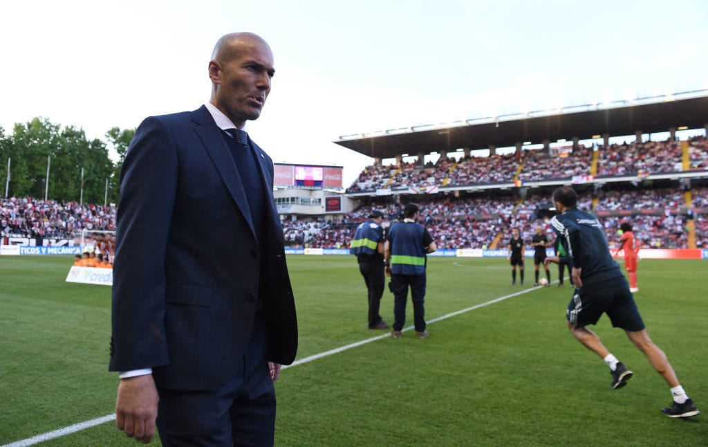MADRID, SPAIN - APRIL 28: Zinedine Zidane, manager of Real Madrid CF takes to the field of play before the start of the La Liga match between Rayo Vallecano de Madrid and Real Madrid CF at Campo de Futbol de Vallecas on April 28, 2019 in Madrid, Spain. (Photo by Denis Doyle/Getty Images)