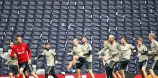 LONDON, ENGLAND - APRIL 29: Players of Ajax participate in a training session ahead of their UEFA Champions League Semi Final first leg match against Tottenham Hotspur at Tottenham Hotspur Stadium on April 29, 2019 in London, England. (Photo by Julian Finney/Getty Images)