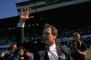 1988: Billy McNeill Manager of the Celtic team waves to the crowd in celebration afterm winning the Scottish Cup Final match against Dundee United at Hampden Park in Glasgow, Scotland. Celtic won the match 2-1. Mandatory Credit: Allsport UK /Allsport