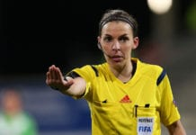 WOLFSBURG, GERMANY - MARCH 22: French referee Stephanie Frappart gestures during the first UEFA Women's Champions League quarter final match between VfL Wolfsburg and FC Rosengard at the AOK Stadion on March 22, 2015 in Wolfsburg, Germany. (Photo by Ronny Hartmann/Bongarts/Getty Images)