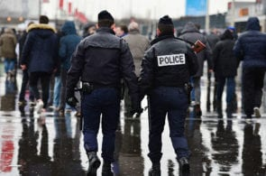 ARCHIVE: PARIS, FRANCE - FEBRUARY 13: Police patrol the stadium prior to kickoff during the RBS Six Nations match between France and Ireland at the Stade de France on February 13, 2016 in Paris, France. (Photo by Dan Mullan/Getty Images)