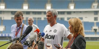 BEIJING, CHINA - JULY 24: Manager Jose Mourinho of Manchester United looks on during a press conference of the 2016 International Champions Cup match between Manchester City and Manchester United at Olympic Sports Center Stadium on July 24, 2016 in Beijing, China. (Photo by Lintao Zhang/Getty Images)