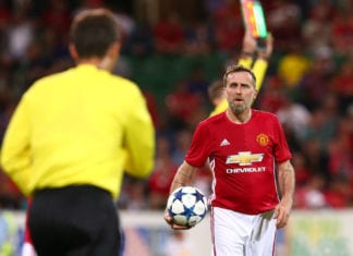 PERTH, AUSTRALIA - MARCH 25: Karel Poborsky of the Manchester United Legends looks to the linesman after a call during the Manchester United Legends and the PFA Aussie Legends match at nib Stadium on March 25, 2017 in Perth, Australia. (Photo by Paul Kane/Getty Images)