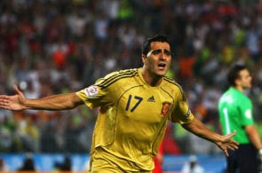 VIENNA, AUSTRIA - JUNE 26: Daniel Guiza of Spain celebrates scoring Spain's second goal during the UEFA EURO 2008 Semi Final match between Russia and Spain at Ernst Happel Stadion on June 26, 2008 in Vienna, Austria. (Photo by Jamie McDonald/Getty Images)
