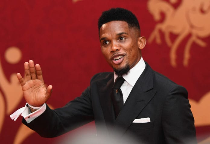 MOSCOW, RUSSIA - DECEMBER 01: Samuel Eto'o arrives prior to the Final Draw for the 2018 FIFA World Cup Russia at the State Kremlin Palace on December 1, 2017 in Moscow, Russia. (Photo by Matthias Hangst/Bongarts/Getty Images)