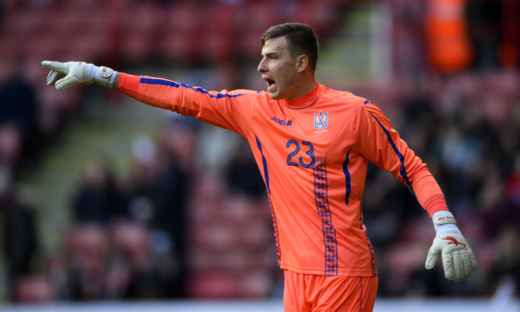 Andriy Lunin of Ukraine during the U21 European Championship Qualifier between England U21 and Ukraine U21 at Bramall Lane on March 27, 2018 in Sheffield, England. (Photo by Gareth Copley/Getty Images)