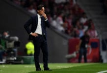 MADRID, SPAIN - APRIL 21: Sevilla coach Vincenzo Montella looks on dejected from the touch line during the Spanish Copa del Rey match between Barcelona and Sevilla at Wanda Metropolitano on April 21, 2018 in Barcelona, . (Photo by David Ramos/Getty Images)