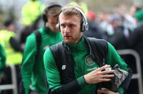 GLASGOW, SCOTLAND - APRIL 29: Scott Bain of Celtic arrives at the stadium prior to the Scottish Premier League match between Celtic and Rangers at Celtic Park on April 29, 2018 in Glasgow, Scotland. (Photo by Ian MacNicol/Getty Images)