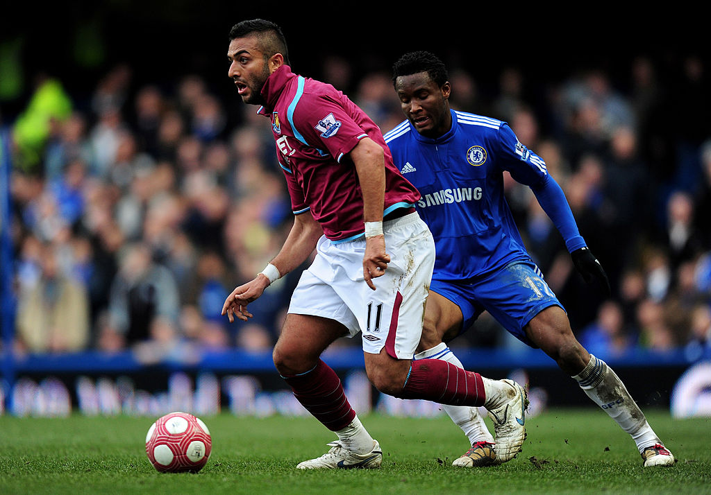 LONDON, ENGLAND - MARCH 13: Mido of West Ham is pursued by John Obi Mikel of Chelsea during the Barclays Premier League match between Chelsea and West Ham United at Stamford Bridge on March 13, 2010 in London, England. (Photo by Mike Hewitt/Getty Images)