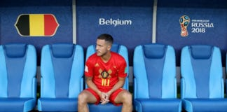 KALININGRAD, RUSSIA - JUNE 28: Eden Hazard of Belgium looks on from the bench prior to the 2018 FIFA World Cup Russia group G match between England and Belgium at Kaliningrad Stadium on June 28, 2018 in Kaliningrad, Russia. (Photo by Ryan Pierse/Getty Images)