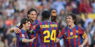 BARCELONA, SPAIN - APRIL 24: Lionel Messi (L), Zlatan Ibrahimovic (2.L) Toure Yaya and Carles Puyol of Barcelona celebrate after Ibrahimovic scored his team's third goal during the La Liga match between Barcelona and Xerez CD at Camp Nou stadium on April 24, 2010 in Barcelona, Spain. (Photo by Denis Doyle/Getty Images)