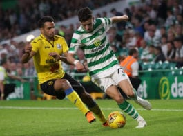GLASGOW, SCOTLAND - JULY 18: Artak Dashyan of Alashkert vies with Mikey Johnston of Celtic during the UEFA Champions League Qualifier between Celtic and Alashkert FC at Celtic Park on July 18, 2018 in Glasgow, Scotland. (Photo by Ian MacNicol/Getty Images)