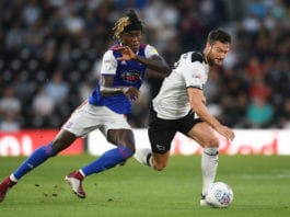 DERBY, ENGLAND - AUGUST 21: David Nugent of Derby challenges Trevoh Chalobah of Ipswich during the Sky Bet Championship match between Derby County v Ipswich Town at Pride Park Stadium on August 21, 2018 in Derby, England. (Photo by Michael Regan/Getty Images)