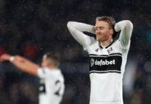 LONDON, ENGLAND - DECEMBER 15: Andre Schurrle of Fulham reacts during the Premier League match between Fulham FC and West Ham United at Craven Cottage on December 15, 2018 in London, United Kingdom. (Photo by Catherine Ivill/Getty Images)