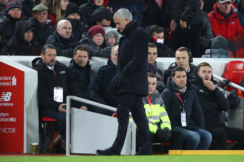 LIVERPOOL, ENGLAND - DECEMBER 16: Jose Mourinho, Manager of Manchester United looks on during the Premier League match between Liverpool FC and Manchester United at Anfield on December 16, 2018 in Liverpool, United Kingdom. (Photo by Clive Brunskill/Getty Images)