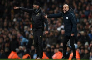 MANCHESTER, ENGLAND - JANUARY 03: Josep Guardiola, Manager of Manchester City and Jurgen Klopp, Manager of Liverpool give their team instructions during the Premier League match between Manchester City and Liverpool FC at the Etihad Stadium on January 3, 2019 in Manchester, United Kingdom. (Photo by Shaun Botterill/Getty Images)
