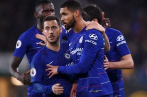 WOLVERHAMPTON, ENGLAND - DECEMBER 05: Ruben Loftus-Cheek of Chelsea is congratulated on scoring the opening goal with Eden Hazard during the Premier League match between Wolverhampton Wanderers and Chelsea FC at Molineux on December 05, 2018 in Wolverhampton, United Kingdom. (Photo by Laurence Griffiths/Getty Images)
