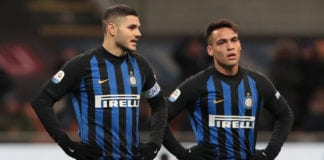 MILAN, ITALY - JANUARY 19: Mauro Emanuel Icardi and Lautaro Martinez of FC Internazionale look on during the Serie A match between FC Internazionale and US Sassuolo at Stadio Giuseppe Meazza on January 19, 2019 in Milan, Italy. (Photo by Emilio Andreoli/Getty Images)