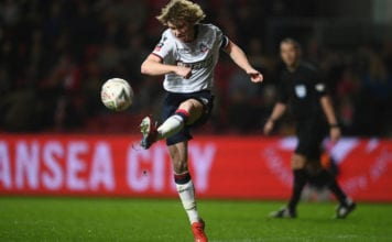 BRISTOL, ENGLAND - JANUARY 25: Luca Connell of Bolton Wanderers during the FA Cup Fourth Round match between Bristol City and Bolton Wanderers at Ashton Gate on January 25, 2019 in Bristol, United Kingdom. (Photo by Harry Trump/Getty Images)