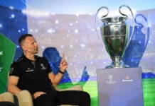 JOHANNESBURG, SOUTH AFRICA - MARCH 04: Wales team manager Ryan Giggs during the UEFA Champions League Trophy Tour Presented by Heineken press conference at The Polo Room, Inanda club on March 04, 2019 in Johannesburg, South Africa. (Photo by Lee Warren/Gallo Images/Getty Images)