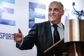 La Liga President Javier Tebas Makes A Speech In SPORTELAisa