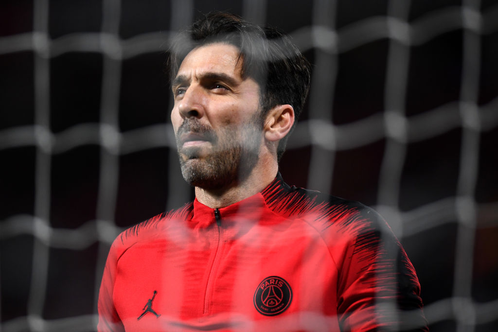 MANCHESTER, ENGLAND - FEBRUARY 12: Gianluigi Buffon of PSG looks on during the UEFA Champions League Round of 16 First Leg match between Manchester United and Paris Saint-Germain at Old Trafford on February 12, 2019 in Manchester, England. (Photo by Michael Regan/Getty Images)