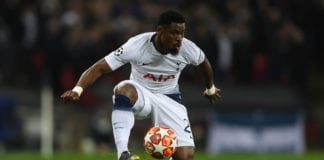 LONDON, ENGLAND - FEBRUARY 13: Serge Aurier of Tottenham Hotspur in action during the UEFA Champions League Round of 16 First Leg match between Tottenham Hotspur and Borussia Dortmund at Wembley Stadium on February 13, 2019 in London, England. (Photo by Mike Hewitt/Getty Images)