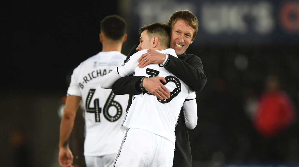 SWANSEA, WALES - FEBRUARY 17: Swansea manager Graham Potter congratulates Bersant Celina after the FA Cup Fifth Round match between Swansea and Brentford at Liberty Stadium on February 17, 2019 in Swansea, United Kingdom. (Photo by Stu Forster/Getty Images)
