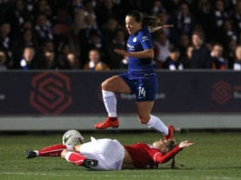 KINGSTON UPON THAMES, ENGLAND - FEBRUARY 20: Gemma Evans of Bristol City Women slides in to tackle Fran Kirby of Chelsea Women during the FA Women's Super League match between Chelsea Women and Bristol City Women at Kingsmeadow on February 20, 2019 in Kingston upon Thames, England. (Photo by Ker Robertson/Getty Images)