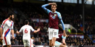 BURNLEY, ENGLAND - MARCH 02: Peter Crouch of Burnley looks dejected during the Premier League match between Burnley FC and Crystal Palace at Turf Moor on March 02, 2019 in Burnley, United Kingdom. (Photo by Stu Forster/Getty Images)
