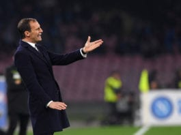 NAPLES, ITALY - MARCH 03: Coach of Juventus Massimiliano Allegri gestures during the Serie A match between SSC Napoli and Juventus at Stadio San Paolo on March 3, 2019 in Naples, Italy. (Photo by Francesco Pecoraro/Getty Images)